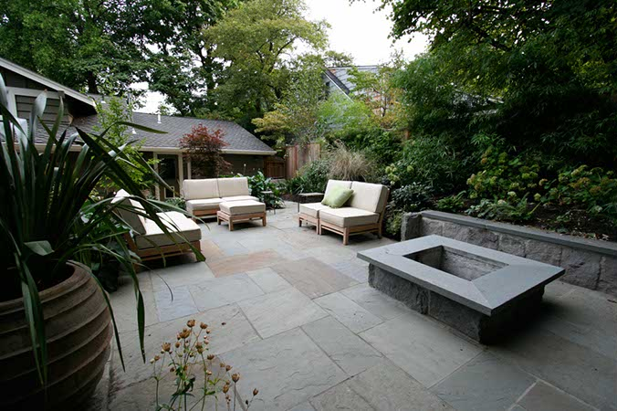 Laycock gardens llc for Blue stone patio with fire pit